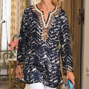 SOFT SURROUNDINGS akira 37571 beaded plunge tunic